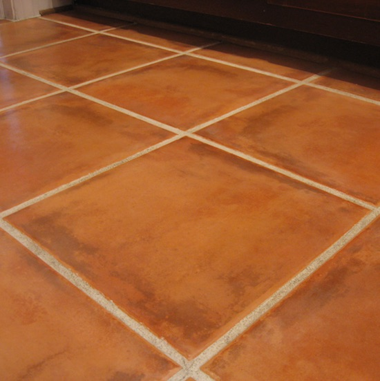 Terracotta tile floor with clean and sealed grout