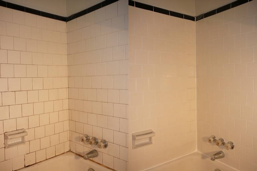 regrouted and recaulked 1930s bathtub before and after